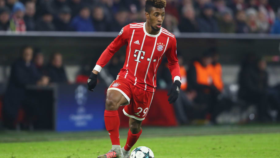 MUNICH, GERMANY - DECEMBER 05:  Kingsley Coman  of FC Bayern Muenchen runs with the ball during the UEFA Champions League group B match between Bayern Muenchen and Paris Saint-Germain at Allianz Arena on December 5, 2017 in Munich, Germany.  (Photo by Alexander Hassenstein/Bongarts/Getty Images)