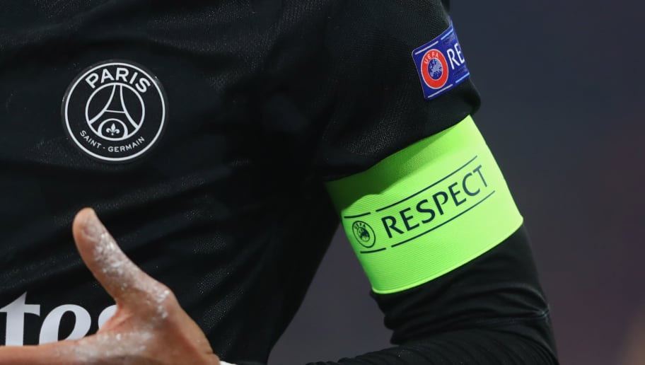 MUNICH, GERMANY - DECEMBER 05:  The captian armband with the 'Respect' logo  during the UEFA Champions League group B match between Bayern Muenchen and Paris Saint-Germain at Allianz Arena on December 5, 2017 in Munich, Germany.  (Photo by Alexander Hassenstein/Bongarts/Getty Images)
