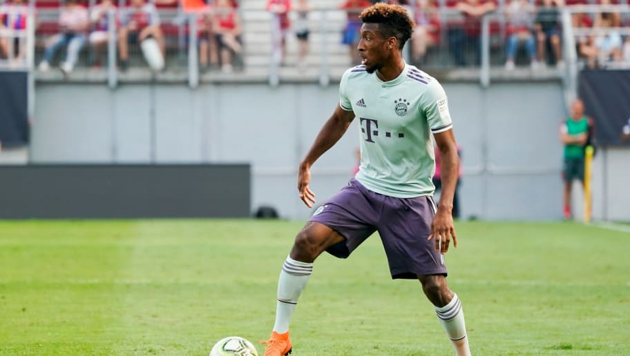 KLAGENFURT, AUSTRIA - JULY 21: Kingsley Coman of FC Bayern Muenchen during the AUDI Football Summit match between Bayern Muenchen and Paris St. Germain at Woerthersee Stadion on July 21, 2018 in Klagenfurt, Austria. (Photo by Josef Bollwein - Sepa Media/Bongarts/Getty Images)