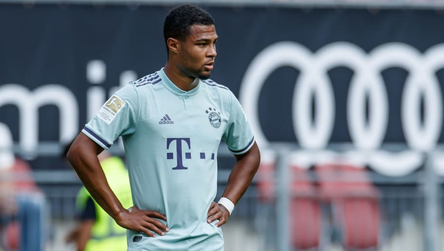 KLAGENFURT, AUSTRIA - JULY 21: Serge Gnabry of Bayern Muenchen looks on during the Friendly match between Bayern Muenchen and Paris St. Germain at Woerthersee Stadion on July 21, 2018 in Klagenfurt, Austria. (Photo by TF-Images/Getty Images)