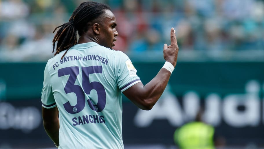 KLAGENFURT, AUSTRIA - JULY 21: Renato Sanches of Bayern Muenchen gestures during the Friendly match between Bayern Muenchen and Paris St. Germain at Woerthersee Stadion on July 21, 2018 in Klagenfurt, Austria. (Photo by TF-Images/Getty Images)