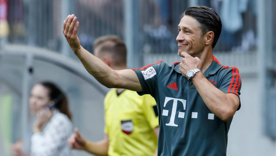 KLAGENFURT, AUSTRIA - JULY 21: coach Niko Kovac of Bayern Muenchen gestures during the Friendly match between Bayern Muenchen and Paris St. Germain at Woerthersee Stadion on July 21, 2018 in Klagenfurt, Austria. (Photo by TF-Images/Getty Images)