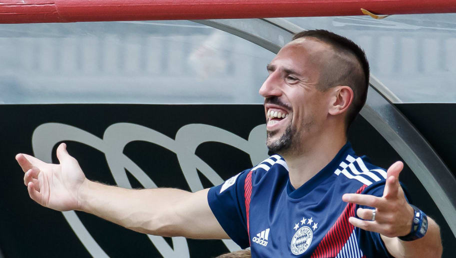 KLAGENFURT, AUSTRIA - JULY 21: Franck Ribery of Bayern Muenchen gestures during the Friendly match between Bayern Muenchen and Paris St. Germain at Woerthersee Stadion on July 21, 2018 in Klagenfurt, Austria. (Photo by TF-Images/Getty Images)