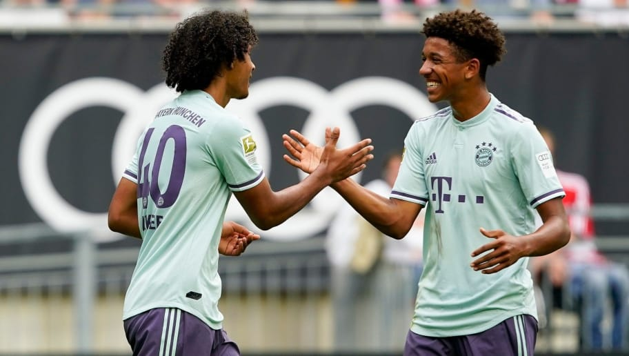 KLAGENFURT, AUSTRIA - JULY 21: Joshua Zirkzee of FC Bayern Muenchen and Chris Richards of FC Bayern Muenchen celebrates celebrates a goal during the AUDI Football Summit match between Bayern Muenchen and Paris St. Germain at Woerthersee Stadion on July 21, 2018 in Klagenfurt, Austria. (Photo by Josef Bollwein - Sepa Media/Bongarts/Getty Images)