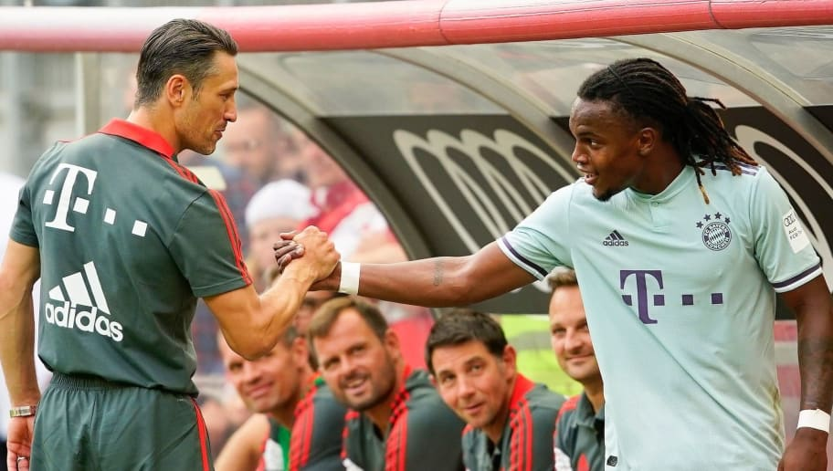 KLAGENFURT, AUSTRIA - JULY 21: head coach Niko Kovac of FC Bayern Muenchen and Renato Sanches of FC Bayern Muenchen during the AUDI Football Summit match between Bayern Muenchen and Paris St. Germain at Woerthersee Stadion on July 21, 2018 in Klagenfurt, Austria. (Photo by Josef Bollwein - Sepa Media/Bongarts/Getty Images)