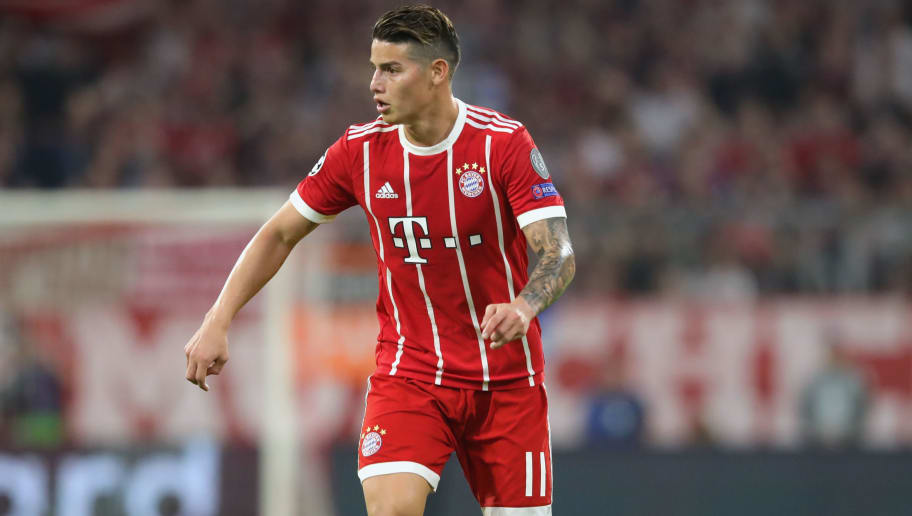 MUNICH, GERMANY - APRIL 25:  James Rodriguez of Muenchen runs with the ball during the UEFA Champions League Semi Final First Leg match between Bayern Muenchen and Real Madrid at the Allianz Arena on April 25, 2018 in Munich, Germany.  (Photo by Alexander Hassenstein/Bongarts/Getty Images)