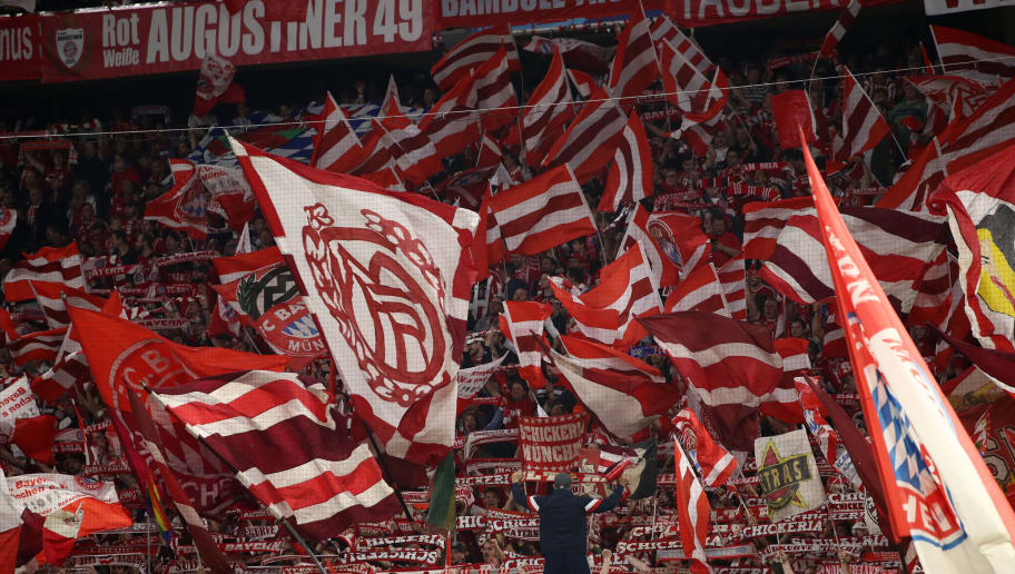 MUNICH, GERMANY - APRIL 25:  A general view as fans show their support during the UEFA Champions League Semi Final First Leg match between Bayern Muenchen and Real Madrid at the Allianz Arena on April 25, 2018 in Munich, Germany.  (Photo by Maja Hitij/Bongarts/Getty Images)
