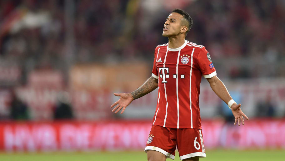 MUNICH, GERMANY - APRIL 25: Thiago Alcantara of Real Madrid reacts during the UEFA Champions League Semi Final First Leg match between Bayern Muenchen and Real Madrid at the Allianz Arena on April 25, 2018 in Munich, Germany. (Photo by Lukasz Laskowski/PressFocus/MB Media/Getty Images)