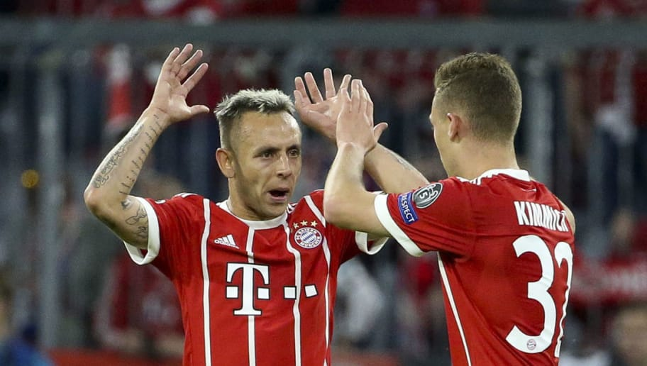 MUNICH, GERMANY - APRIL 25: Joshua Kimmich of Bayern Munich celebrates his goal with Rafinha (left) during the UEFA Champions League Semi Final first leg match between Bayern Muenchen (Bayern Munich) and Real Madrid at the Allianz Arena on April 25, 2018 in Munich, Germany. (Photo by Jean Catuffe/Getty Images)