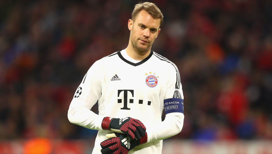 MUNICH, GERMANY - SEPTEMBER 12:  Manuel Neuer of Bayern Muenchen looks on during the UEFA Champions League group B match between FC Bayern Muenchen and RSC Anderlecht at Allianz Arena on September 12, 2017 in Munich, Germany.  (Photo by Alexander Hassenstein/Bongarts/Getty Images)