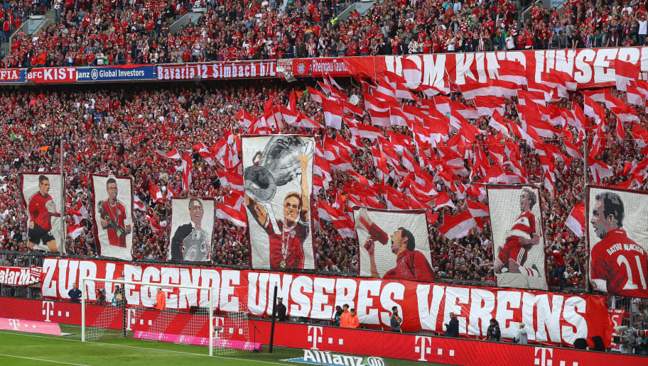 MUNICH, GERMANY - MAY 20:  Supporters of Bayern Muenchen create a choreography for her player Philipp Lahm prior to the Bundesliga match between Bayern Muenchen and SC Freiburg at Allianz Arena on May 20, 2017 in Munich, Germany.  (Photo by Alexander Hassenstein/Bongarts/Getty Images)