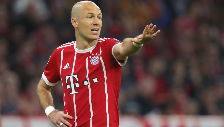 MUNICH, GERMANY - APRIL 11:  Arjen Robben of Bayern Muenchen reacts during the UEFA Champions League Quarter Final Second Leg match between Bayern Muenchen and Sevilla FC at Allianz Arena on April 11, 2018 in Munich, Germany.  (Photo by Alexander Hassenstein/Bongarts/Getty Images)