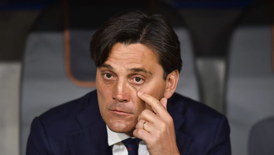MUNICH, GERMANY - APRIL 11: Sevilla FC Coach Vincenzo Montella during UEFA Champions League Quarter Final Second Leg match between Bayern Muenchen and Sevilla FC at Allianz Arena on April 11, 2018 in Munich, Germany. (Photo by Lukasz Laskowski/PressFocus/MB Media/Getty Images)