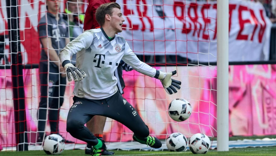 MUNICH, GERMANY - MAY 06: Goalkeeper Leo Weinkauf of Munich controls the ball during the Bundesliga match between Bayern Muenchen and SV Darmstadt 98 at Allianz Arena on May 6, 2017 in Munich, Germany. (Photo by TF-Images/Getty Images)