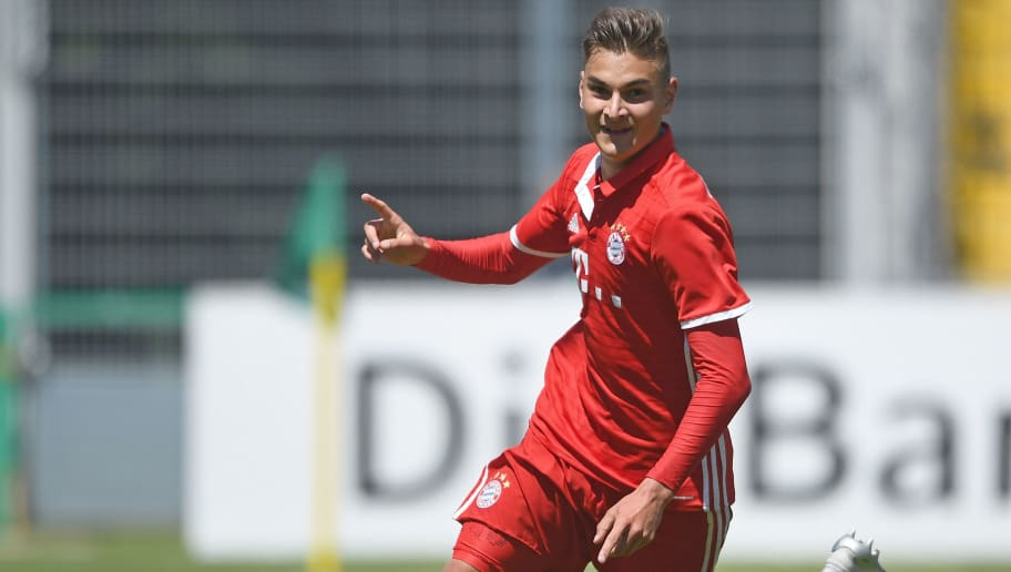 MUNICH, GERMANY - JUNE 18: Marcel Zylla of FC Bayern Muenchen celebrates scoring his team's first goal during the B Juniors German Championship Final between FC Bayern Muenchen and SV Werder Bremen at Stadion an der Gruenwalder Strasse on June 18, 2017 in Munich, Germany. (Photo by Lennart Preiss/Bongarts/Getty Images)