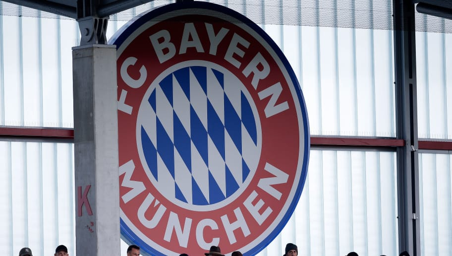MUNCHEN, GERMANY - OCTOBER 2: logo of Bayern Munchen during the    match between Bayern Munchen U19 v Ajax U19 at the FC Bayern Campus on October 2, 2018 in Munchen Germany (Photo by Erwin Spek/Soccrates/Getty Images)
