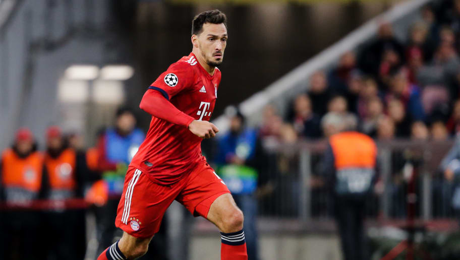 MUNICH, GERMANY - OCTOBER 2: Mats Hummels of Bayern Munchen during the UEFA Champions League  match between Bayern Munchen v Ajax at the Allianz Arena on October 2, 2018 in Munich Germany (Photo by Erwin Spek/Soccrates/Getty Images)