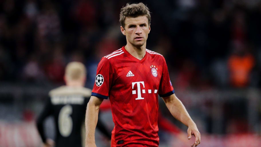MUNICH, GERMANY - OCTOBER 2: Thomas Muller of Bayern Munchen during the UEFA Champions League  match between Bayern Munchen v Ajax at the Allianz Arena on October 2, 2018 in Munich Germany (Photo by Erwin Spek/Soccrates/Getty Images)