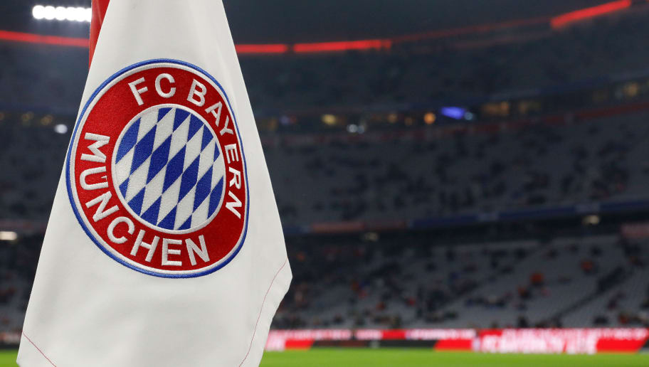 MUNICH, GERMANY - FEBRUARY 10: Logo of Bayern Munchen  during the German Bundesliga  match between Bayern Munchen v Schalke 04 at the Allianz Arena on February 10, 2018 in Munich Germany (Photo by Jeroen Meuwsen/Soccrates/Getty Images)