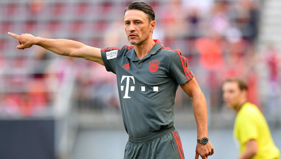 KLAGENFURT, AUSTRIA - JULY 21: Niko Kovac, Manager of Bayern Munich gives instructions during the International Champions Cup 2018 match between Bayern Munich and Paris Saint-German at Worthersee Stadion on July 21, 2018 in Klagenfurt, Austria. (Photo by Sebastian Widmann/International Champions Cup via Getty Images/International Champions Cup via Getty Images)