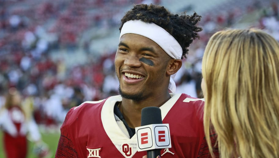 NORMAN, OK - SEPTEMBER 29: Quarterback Kyler Murray #1 of the Oklahoma Sooners speaks to the media after the game against the Baylor Bears at Gaylord Family Oklahoma Memorial Stadium on September 29, 2018 in Norman, Oklahoma. Oklahoma defeated Baylor 66-33. (Photo by Brett Deering/Getty Images)