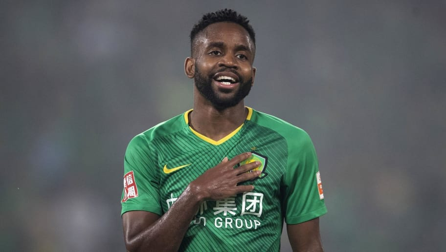 BEIJING, CHINA - JULY 18:  Bakambu #17 of Beijing Guoan in action  during 2018 Chinese Super League between Beijing Guoan and Henan Jianye at Beijing Workers Stadium on July 18, 2018 in Beijing, China.  (Photo by Fred Lee/Getty Images)