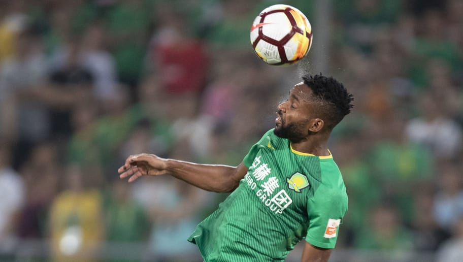 BEIJING, CHINA - JULY 22:  Cedric Bakambu #17 of Beijing Guoan in action during 2018 Chinese Super League match between Beijing Guoan and Tianjin QuanJian at Beijing Workers Stadium on July 22, 2018 in Beijing, China.  (Photo by Fred Lee/Getty Images)