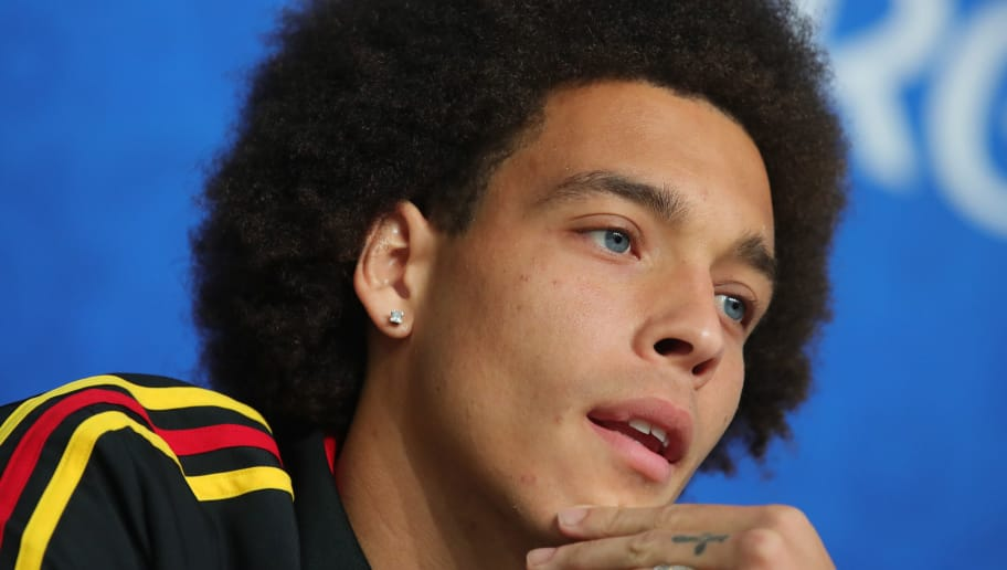 SAINT PETERSBURG, RUSSIA - JULY 13:  Axel Witsel of Belgium looks on during a Belgium press conference during the 2018 FIFA World Cup on July 13, 2018 in Saint Petersburg, Russia.  (Photo by Alexander Hassenstein/Getty Images)