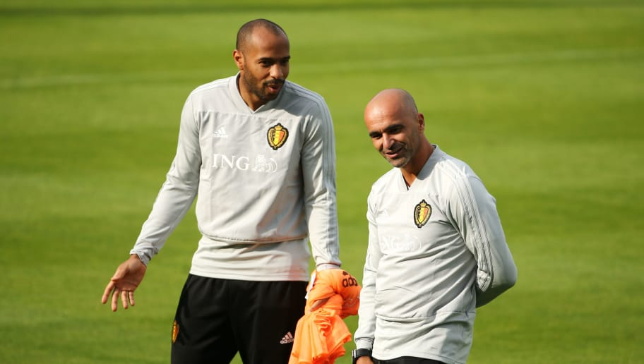 TUBIZE, BELGIUM - SEPTEMBER 06: Thierry Henry and Roberto Martinez during a Belgium training session at the Belgian National Football Center on September 6, 2018 in Tubize, Belgium. (Photo by Vincent Van Doornick/Isosport/MB Media/Getty Images)