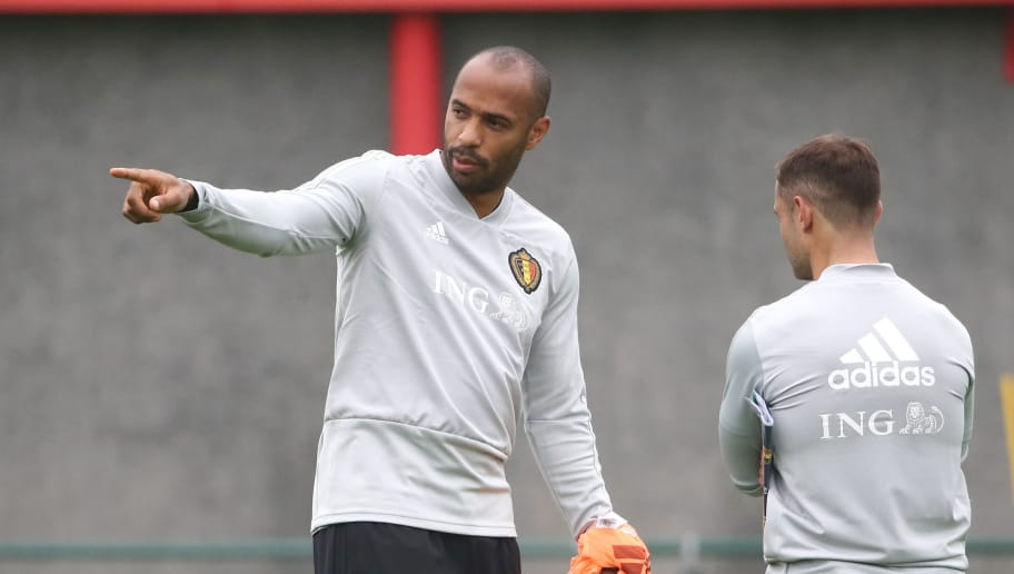 TUBIZE, BELGIUM - SEPTEMBER 05: Thierry Henry during a Belgium training session at the Belgian National Football Center on September 5, 2018 in Tubize, Belgium. (Photo by Vincent Van Doornick/Isosport/MB Media/Getty Images)