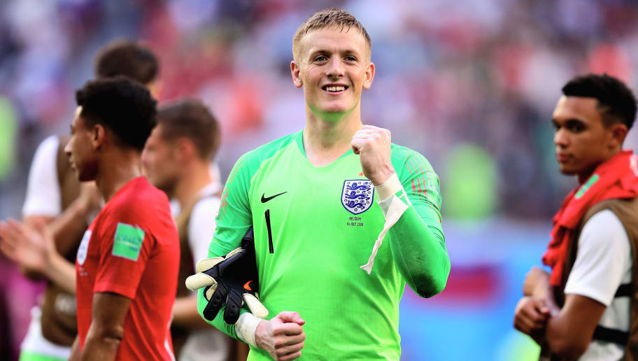 SAINT PETERSBURG, RUSSIA - JULY 14: Jordan Pickford of England celebrates after the 2018 FIFA World Cup Russia 3rd Place Playoff match between Belgium and England at Saint Petersburg Stadium on July 14, 2018 in Saint Petersburg, Russia.  (Photo by Chris Brunskill/Fantasista/Getty Images)