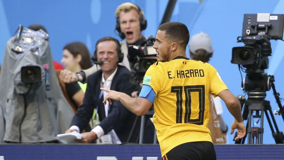 SAINT PETERSBURG, RUSSIA - JULY 14: Eden Hazard of Belgium celebrates his goal, the second for Belgium during the 2018 FIFA World Cup Russia 3rd Place Playoff match between Belgium and England at Saint Petersburg Stadium on July 14, 2018 in Saint Petersburg, Russia. (Photo by Jean Catuffe/Getty Images)