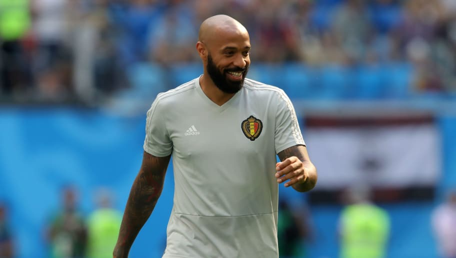 SAINT PETERSBURG, RUSSIA - JULY 14:  Belgium assistant coach Thierry Henry looks on during the warm up prior to the 2018 FIFA World Cup Russia 3rd Place Playoff match between Belgium and England at Saint Petersburg Stadium on July 14, 2018 in Saint Petersburg, Russia.  (Photo by Alexander Hassenstein/Getty Images)