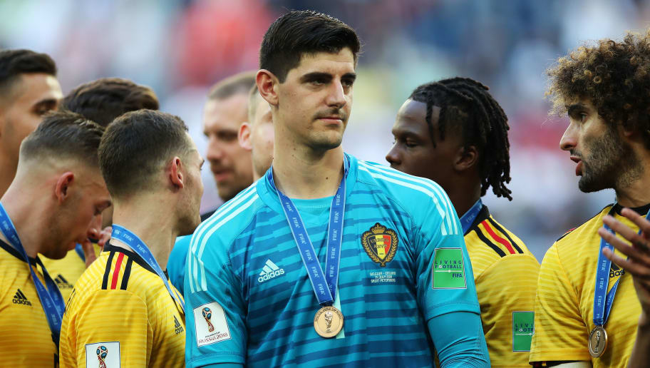 SAINT PETERSBURG, RUSSIA - JULY 14: Belgium goalkeeper Thibaut Courtois is seen during the 2018 FIFA World Cup Russia 3rd Place Playoff match between Belgium and England at Saint Petersburg Stadium on July 14, 2018 in Saint Petersburg, Russia. (Photo by Ian MacNicol/Getty Images)