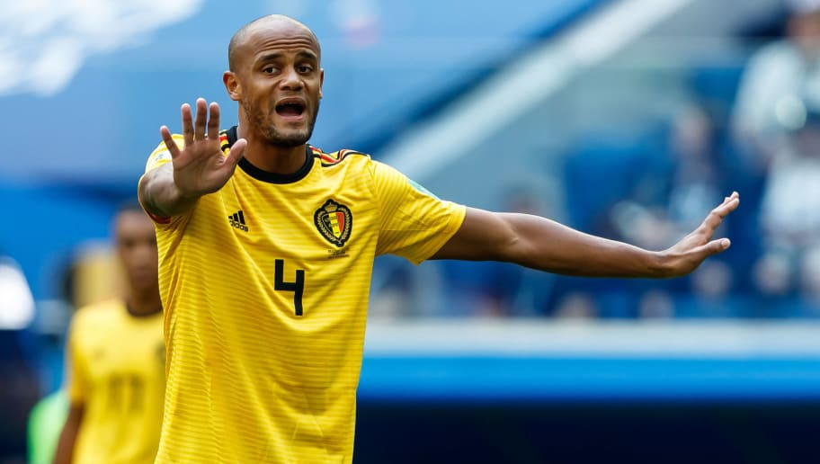 SAINT PETERSBURG, RUSSIA - JULY 14: Vincent Kompany of Belgium gestures during the 2018 FIFA World Cup Russia 3rd Place Playoff match between Belgium and England at Saint Petersburg Stadium on July 14, 2018 in Saint Petersburg, Russia. (Photo by TF-Images/Getty Images)