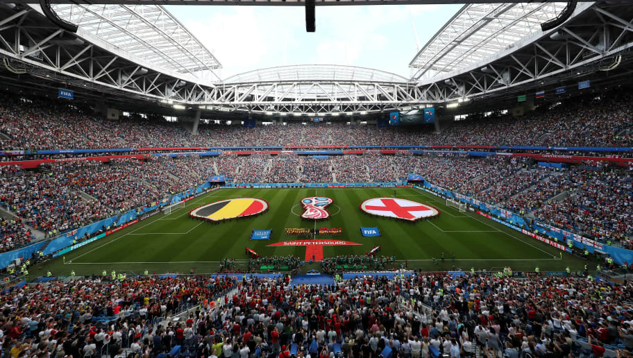 SAINT PETERSBURG, RUSSIA - JULY 14:  General view inside the stadium as teams line up prior to the 2018 FIFA World Cup Russia 3rd Place Playoff match between Belgium and England at Saint Petersburg Stadium on July 14, 2018 in Saint Petersburg, Russia.  (Photo by Kevin C. Cox/Getty Images)