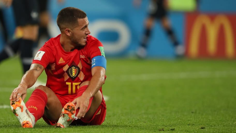 SAINT PETERSBURG, RUSSIA - JULY 10: Eden Hazard of Belgium during the 2018 FIFA World Cup Russia Semi Final match between Belgium and France at Saint Petersburg Stadium on July 10, 2018 in Saint Petersburg, Russia. (Photo by Matthew Ashton - AMA/Getty Images)