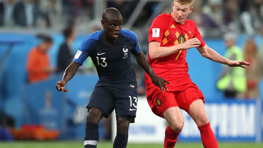 SAINT PETERSBURG, RUSSIA - JULY 10:  Ngolo Kante of France is challenged by Kevin De Bruyne of Belgium during the 2018 FIFA World Cup Russia Semi Final match between Belgium and France at Saint Petersburg Stadium on July 10, 2018 in Saint Petersburg, Russia.  (Photo by Catherine Ivill/Getty Images)