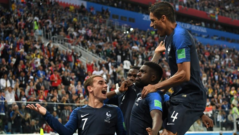 SAINT PETERSBURG, RUSSIA - JULY 10:  Samuel Umtiti of France celebrates with teammates after scoring his team's first goal during the 2018 FIFA World Cup Russia Semi Final match between Belgium and France at Saint Petersburg Stadium on July 10, 2018 in Saint Petersburg, Russia.  (Photo by Shaun Botterill/Getty Images)