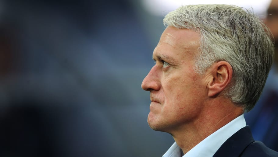 SAINT PETERSBURG, RUSSIA - JULY 10: France coach Didier Deschamps is seen during the 2018 FIFA World Cup Russia Semi Final match between Belgium and France at Saint Petersburg Stadium on July 10, 2018 in Saint Petersburg, Russia. (Photo by Ian MacNicol/Getty Images)