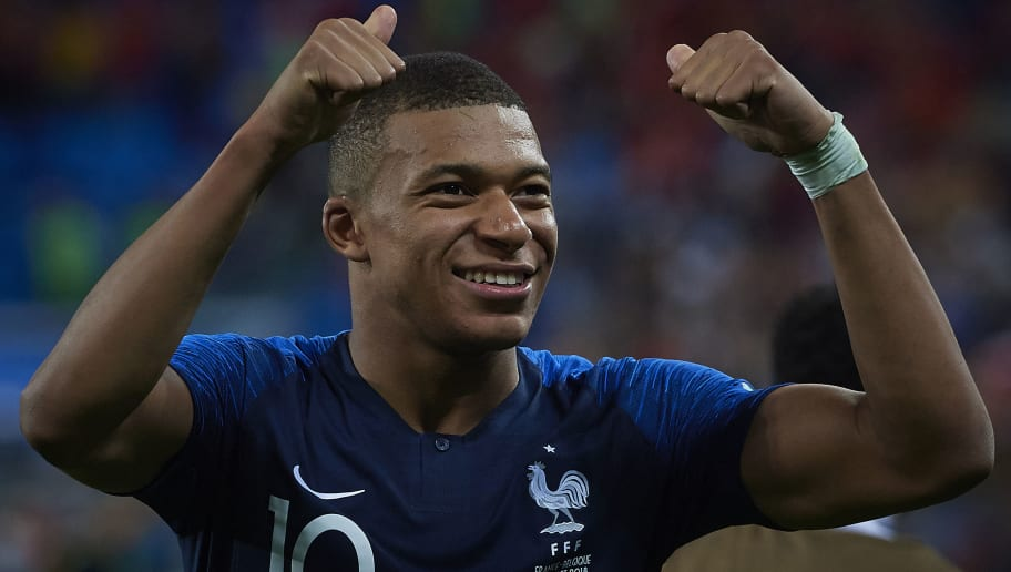 SAINT PETERSBURG, RUSSIA - JULY 10:  Kylian Mbappe of France celebrates his team victory at the 2018 FIFA World Cup Russia Semi Final match between Belgium and France at Saint Petersburg Stadium on July 10, 2018 in Saint Petersburg, Russia.  (Photo by Quality Sport Images/Getty Images)