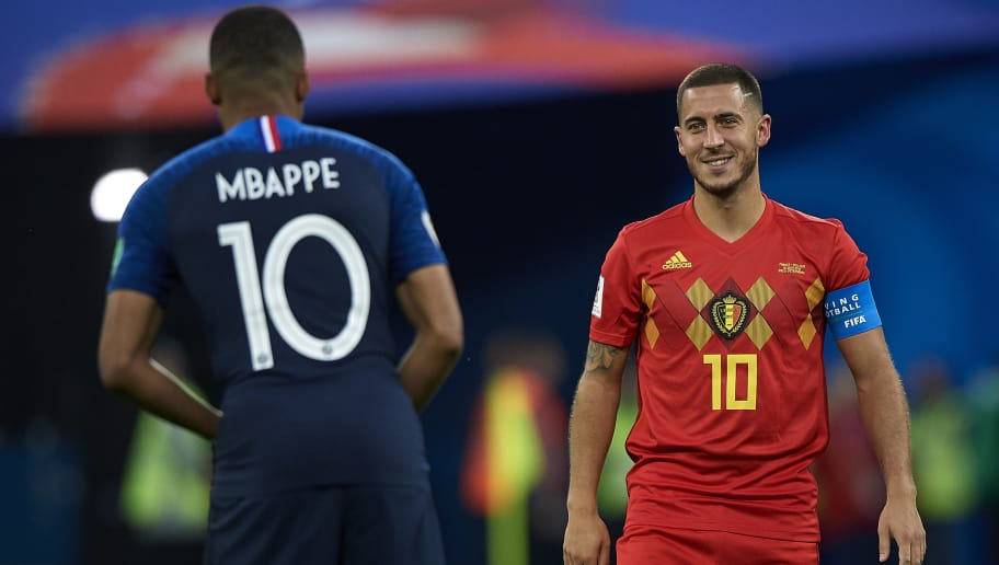 SAINT PETERSBURG, RUSSIA - JULY 10:  Eden Hazard (R) of Belgium talks with Kylian Mbappe of France during the 2018 FIFA World Cup Russia Semi Final match between Belgium and France at Saint Petersburg Stadium on July 10, 2018 in Saint Petersburg, Russia.  (Photo by Quality Sport Images/Getty Images)