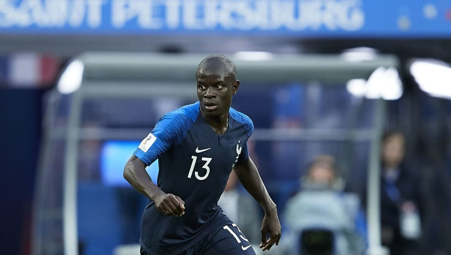 SAINT PETERSBURG, RUSSIA - JULY 10:  Ngolo Kante of France in action during the 2018 FIFA World Cup Russia Semi Final match between Belgium and France at Saint Petersburg Stadium on July 10, 2018 in Saint Petersburg, Russia.  (Photo by Quality Sport Images/Getty Images)