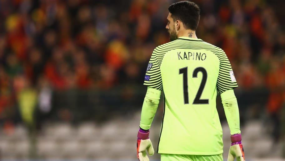 BRUSSELS, BELGIUM - MARCH 25:  Goalkeeper, Stefanos Kapino of Greece looks on during the FIFA 2018 World Cup Group H  Qualifier match between Belgium and Greece at Stade Roi Baudouis on March 25, 2017 in Brussels, Belgium.  (Photo by Dean Mouhtaropoulos/Getty Images)