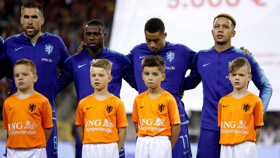 , BELGIUM - OCTOBER 16: (L-R) Kevin Strootman of Holland, Quincy Promes of Holland, Arnaut Danjuma Groeneveld of Holland, Memphis Depay of Holland  during the  International Friendly match between Belgium  v Holland  on October 16, 2018 (Photo by Laurens Lindhout/Soccrates/Getty Images)