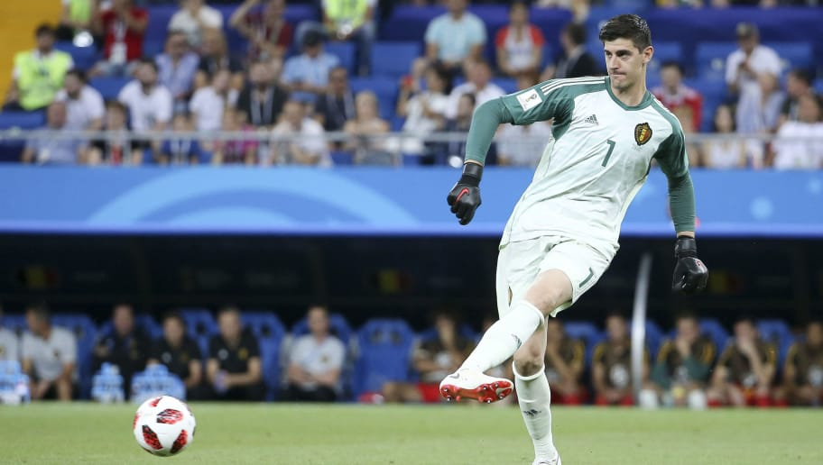 ROSTOV-ON-DON, RUSSIA - JULY 2: Goalkeeper of Belgium Thibaut Courtois during the 2018 FIFA World Cup Russia Round of 16 match between Belgium and Japan at Rostov Arena on July 2, 2018 in Rostov-on-Don, Russia. (Photo by Jean Catuffe/Getty Images)