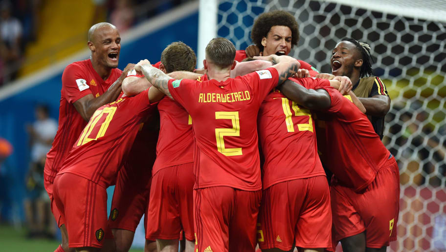 ROSTOV-ON-DON, RUSSIA - JULY 02: Vincent Kompany, Axel Witsel, Michy Batshuayi, Nacer Chadli and Belgian players celebrate after scoring and winning the 2018 FIFA World Cup Russia Round of 16 match between Belgium and Japan at Rostov Arena on July 2, 2018 in Rostov-on-Don, Russia. (Photo by Dmitry Lebedev/Isosport/MB Media/Getty Images)