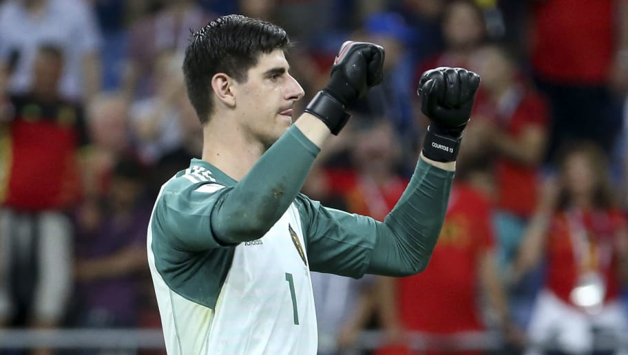 ROSTOV-ON-DON, RUSSIA - JULY 2: Goalkeeper of Belgium Thibaut Courtois celebrates the victory following the 2018 FIFA World Cup Russia Round of 16 match between Belgium and Japan at Rostov Arena on July 2, 2018 in Rostov-on-Don, Russia. (Photo by Jean Catuffe/Getty Images)