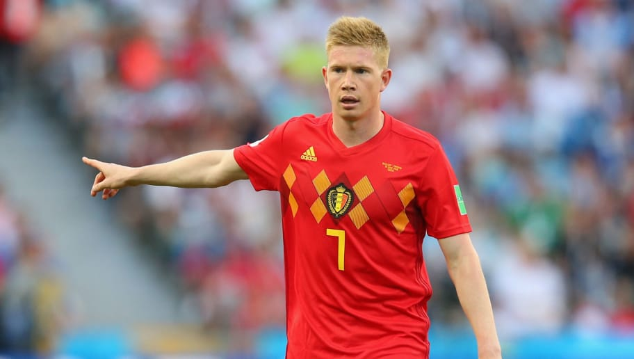 SOCHI, RUSSIA - JUNE 18:  Kevin De Bruyne of Belgium looks on during the 2018 FIFA World Cup Russia group G match between Belgium and Panama at Fisht Stadium on June 18, 2018 in Sochi, Russia.  (Photo by Alex Livesey/Getty Images)