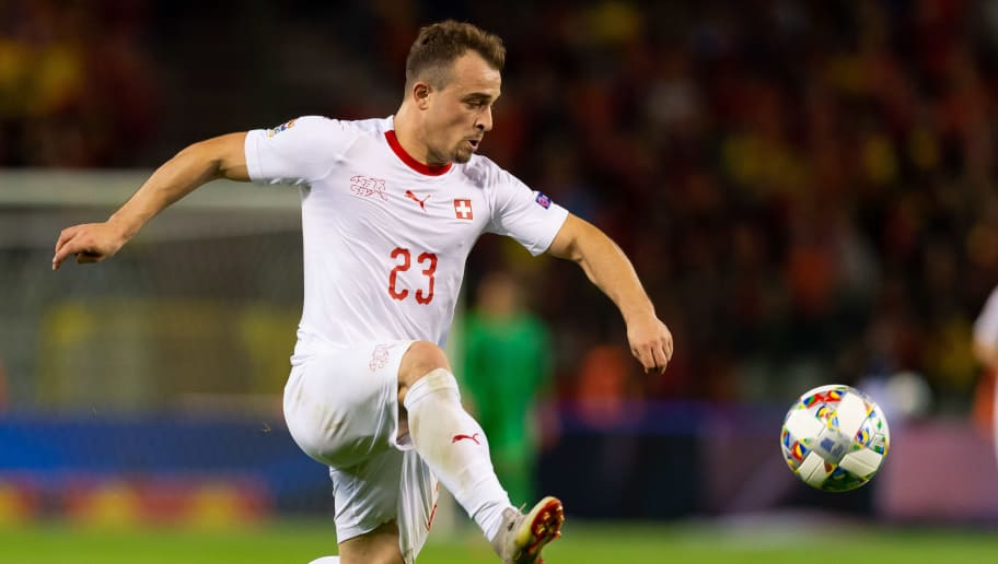 BRUSSELS, BELGIUM - OCTOBER 12: Xherdan Shaqiri of Switzerland controls the ball during the UEFA Nations League A group two match between Belgium and Switzerland at Roi Baudouin Stadion on October 12, 2018 in Brussels, Belgium. (Photo by TF-Images/Getty Images)